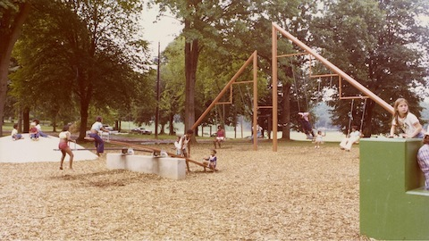 Children playing at Playscapes, Noguchi's playground in Piedmont Park, Atlanta, GA, 1976. Select to learn more about the future playground model.