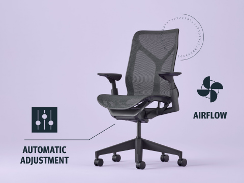 A Cosm Chair with two icons on the side indicating airflow and automatic adjustment features.